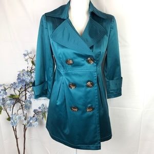 XOXO TEAL BLUE FITTED BLAZER / mini trench coat L